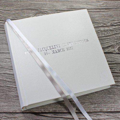 Baby Photo Album - White Leather Silver & White Ribbon Page Page Marker