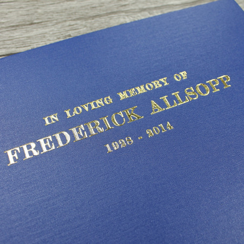 Personalised Funeral Guest Book / Remembrance / Condolence Book - Cobalt Blue Buckram Cloth