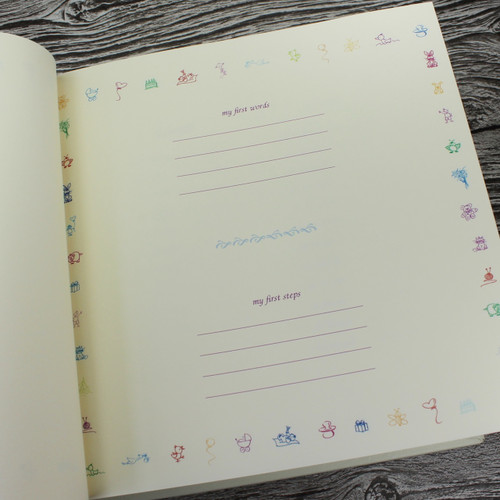 Baby Boy Memory Record Book - White Leather Blue & White Ribbon Page Marker