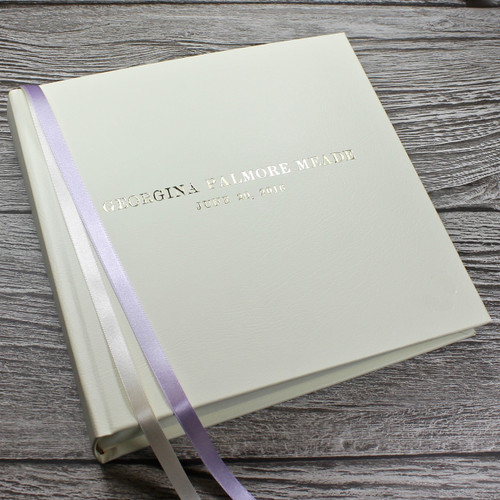 Baby Girl Photo Album - Ivory Leather Lilac & Ivory Ribbon Page Marker