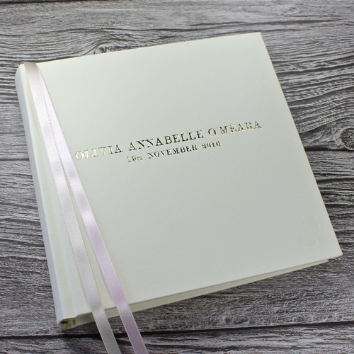 Baby Girl Photo Album - Ivory Leather Pink & Ivory Ribbon Page Marker