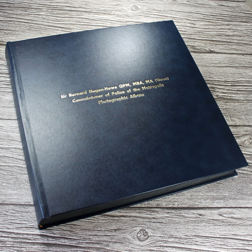 Traditional Navy Blue Leather Photo Album