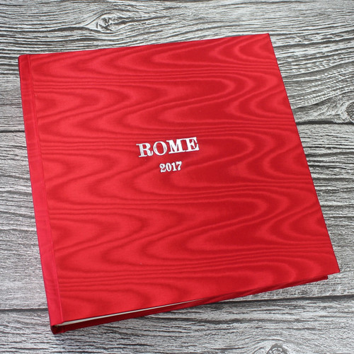 Red Satin Taffeta Album With Moiré Design