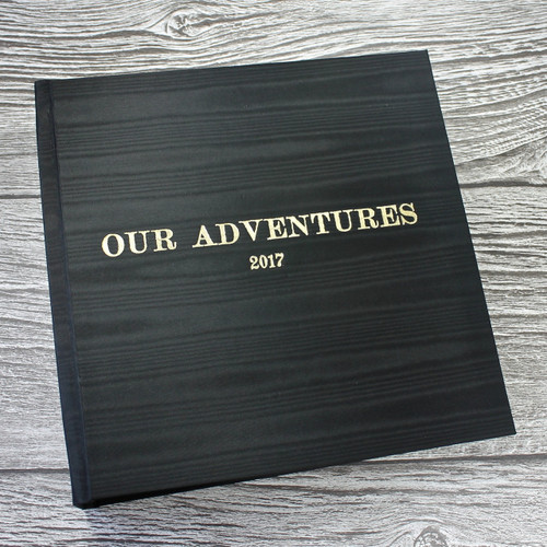 Black Satin Taffeta Photo Album With Moiré Design