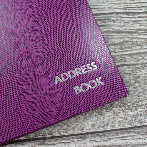Personalised Address Book  - Plum Lizard Effect Finish