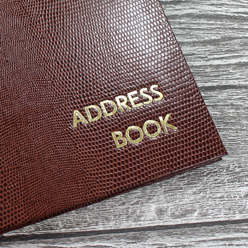Personalised Address Book  - Brown Lizard Effect Finish