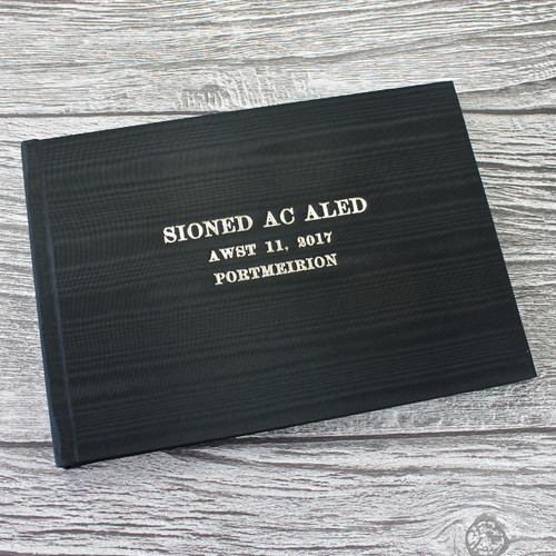 Wedding Guest Book In Black Satin Taffeta With Moiré Design - A5 or A4 Landscape