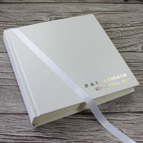 Classic White Leather Wedding Photo Album