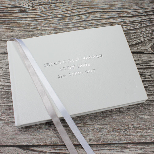 Baby Shower Guest Book - White Leather Silver & White Ribbon Page Marker - A5 Landscape
