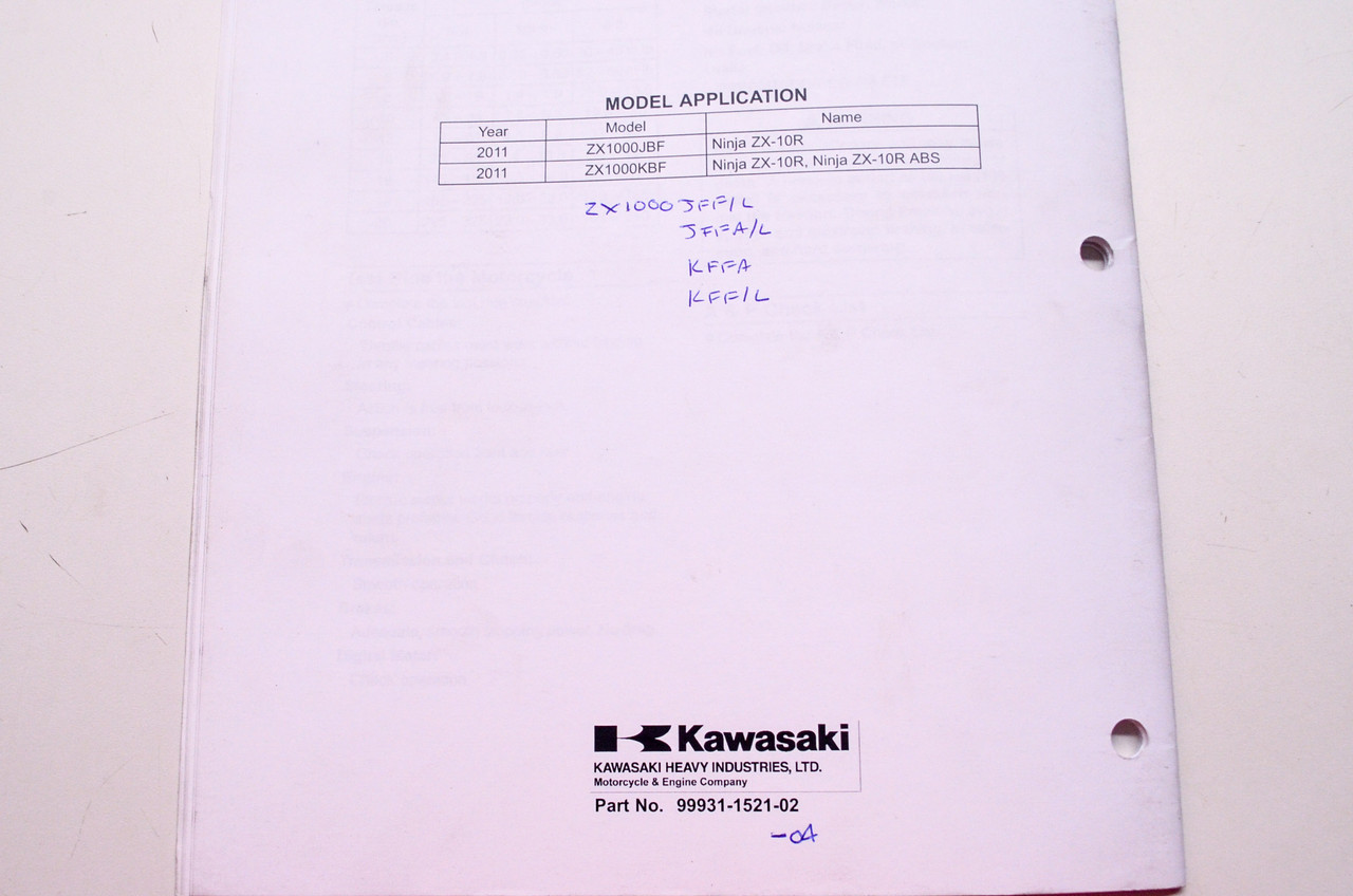 kawasaki ninja zx 10r abs motorcycle assembly preparation manual rh instockmotorsports com L Gz358pst 1 Assembly Manual Assembly Instruction Manuals
