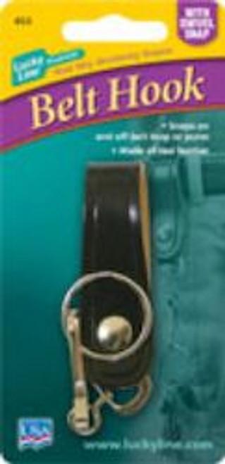 45301: LEATHER BELT HOOK W/SNAP,1/CD