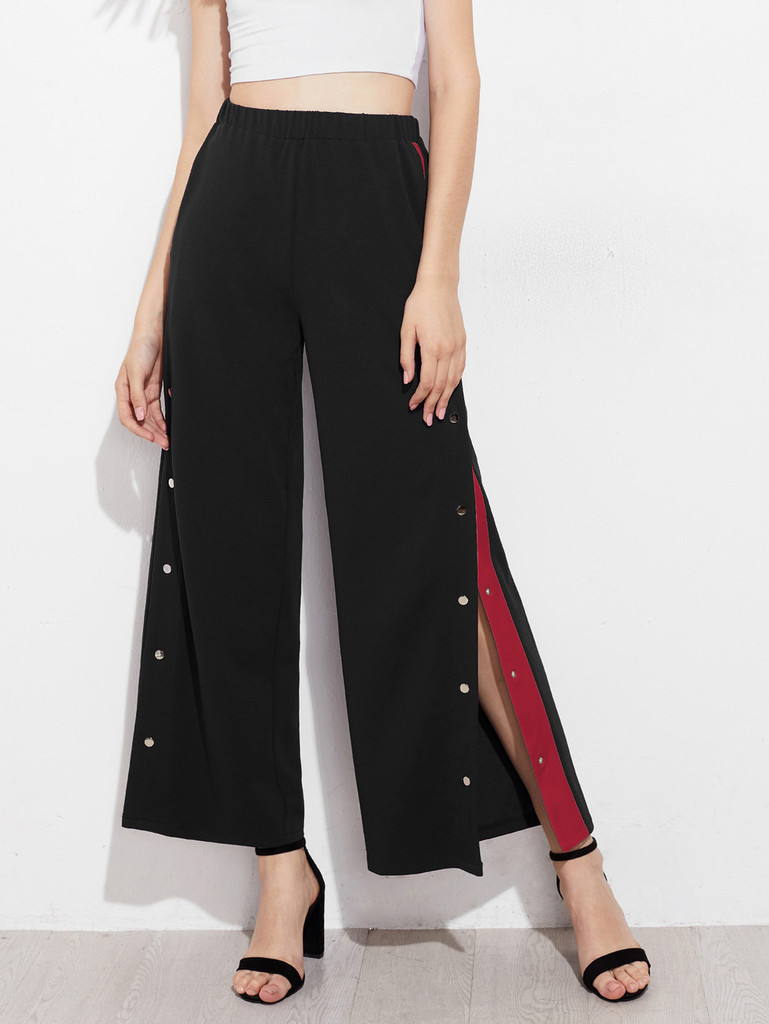 Fifth Avenue Women's Wide Leg Contrast Snap Button Track Pants - Black and Red
