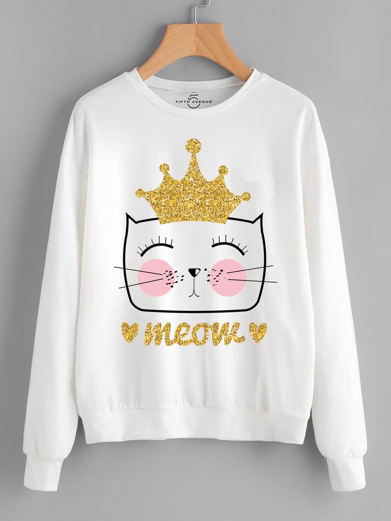 Fifth Avenue Crown Meow Printed Sweatshirt - White