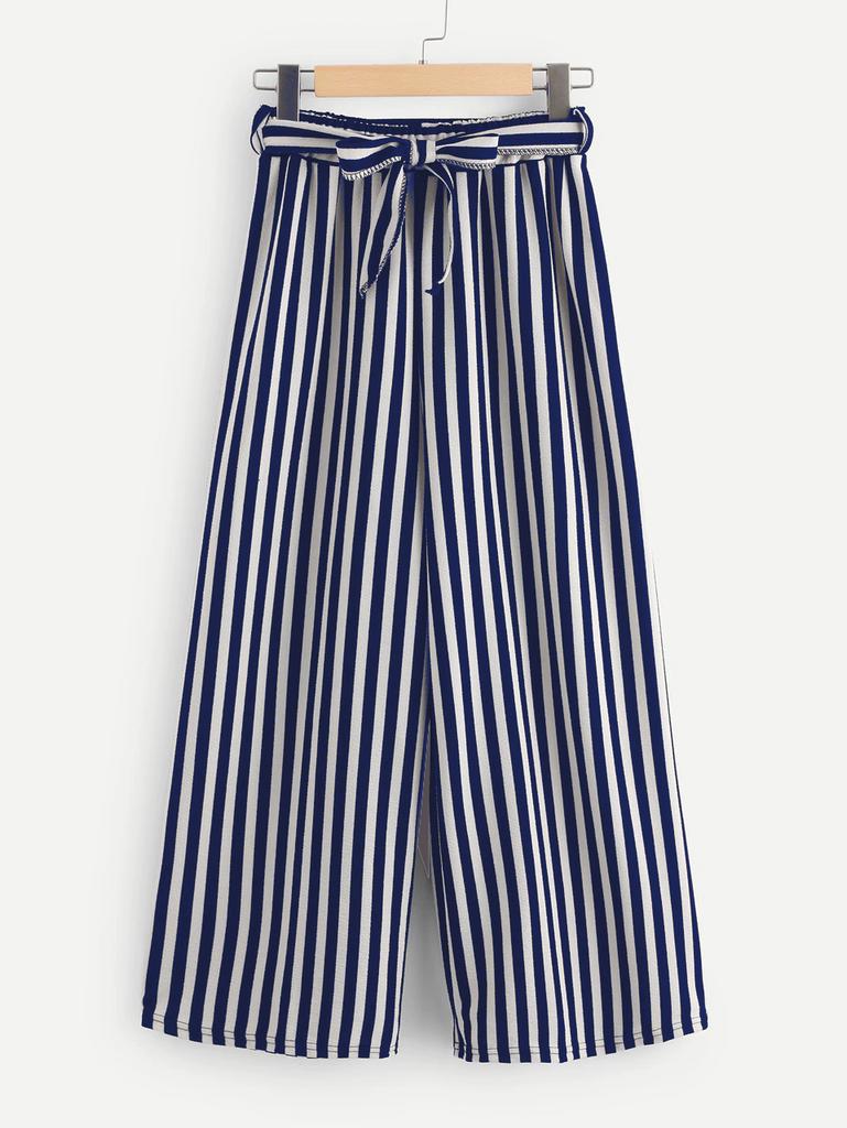 Fifth Avenue Viscose MOJA Stripe Tie-Waist Culotte Pants - Navy Blue and White
