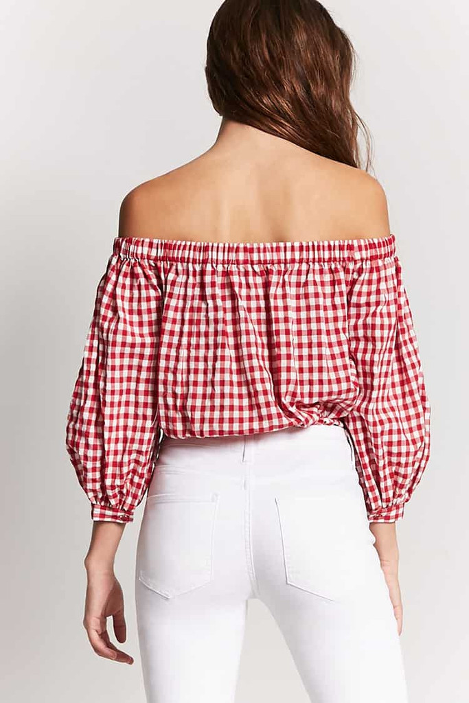 Fifth Avenue Women's Bottom Knot Gingham Off Shoulder Top - Red and White