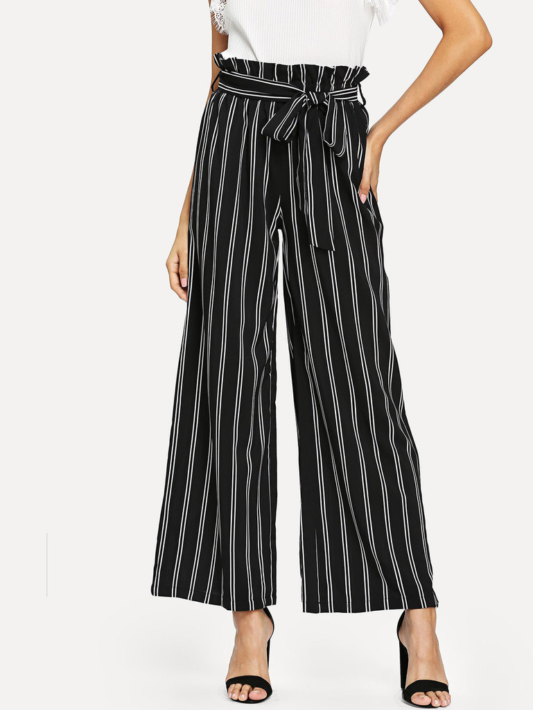 Fifth Avenue Viscose NILL Dual Striped Wide Leg Pants - Black and White