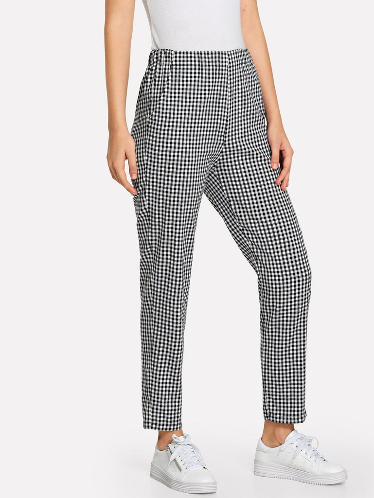 Fifth Avenue Elastic Waist Cotton Gingham Pants - Black and White