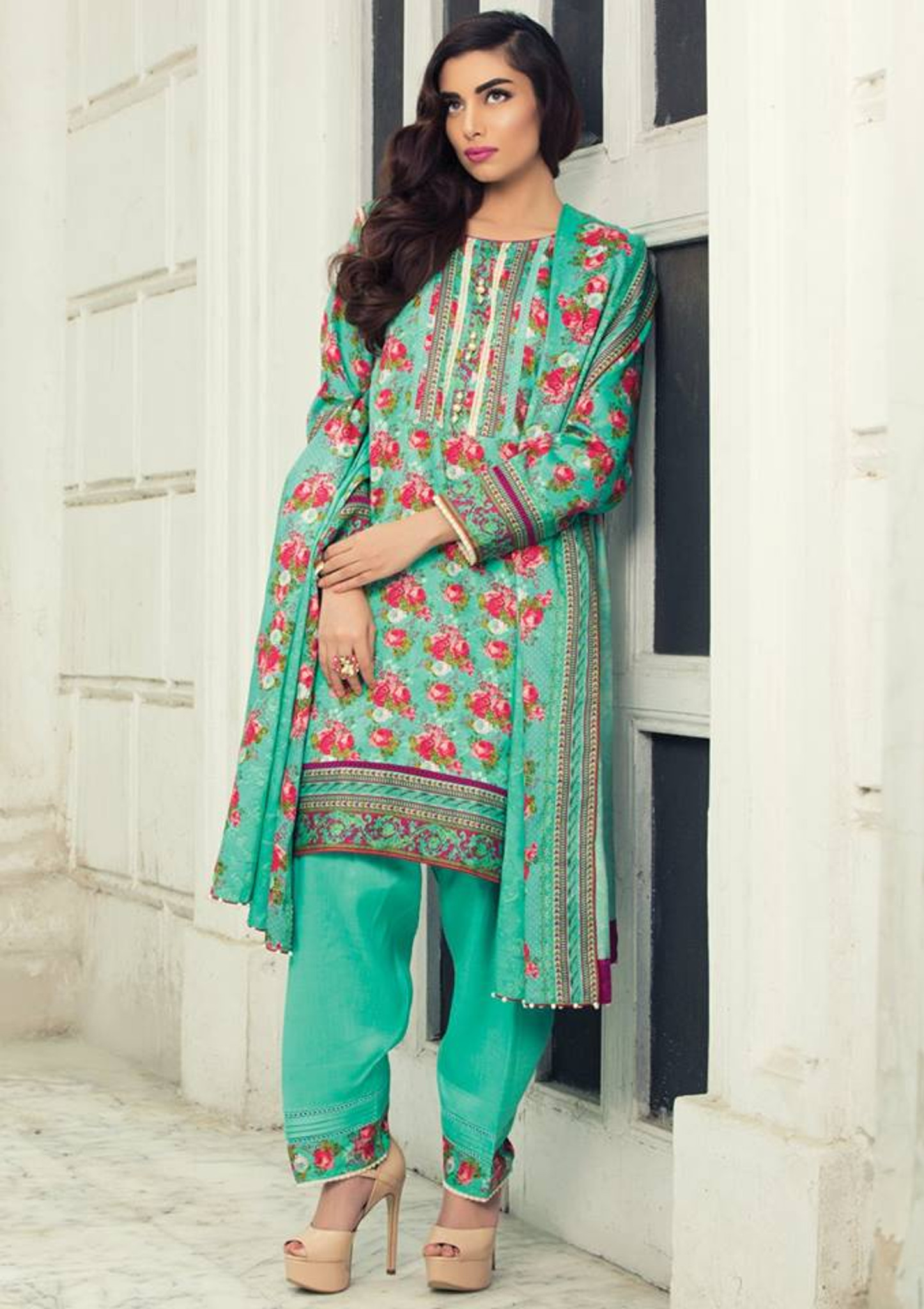 Imperial Grace 3 Piece Resham Twill Linen Collection - 09-GREEN