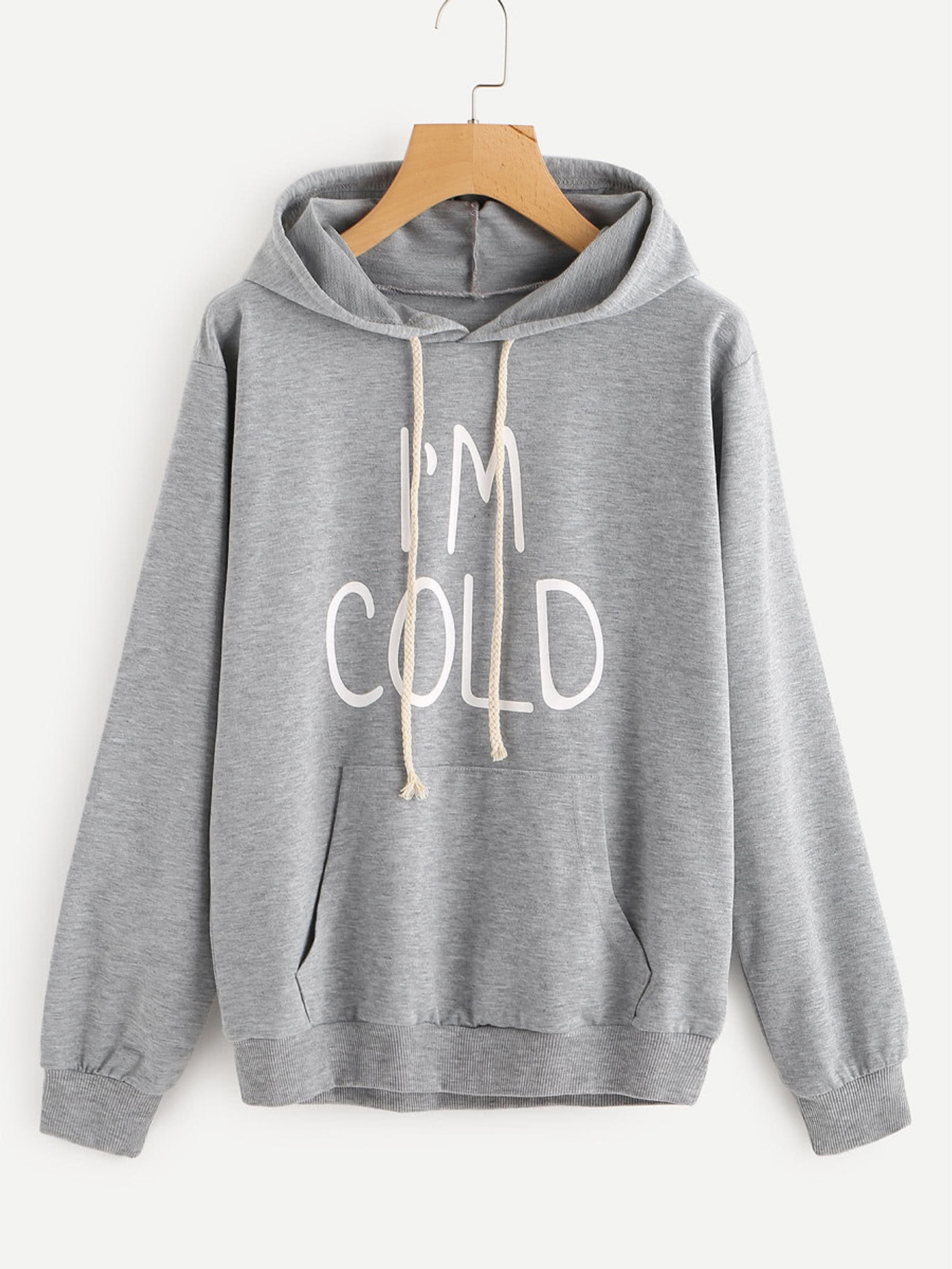 Fifth Avenue I'm Cold Print Hoodie - Grey