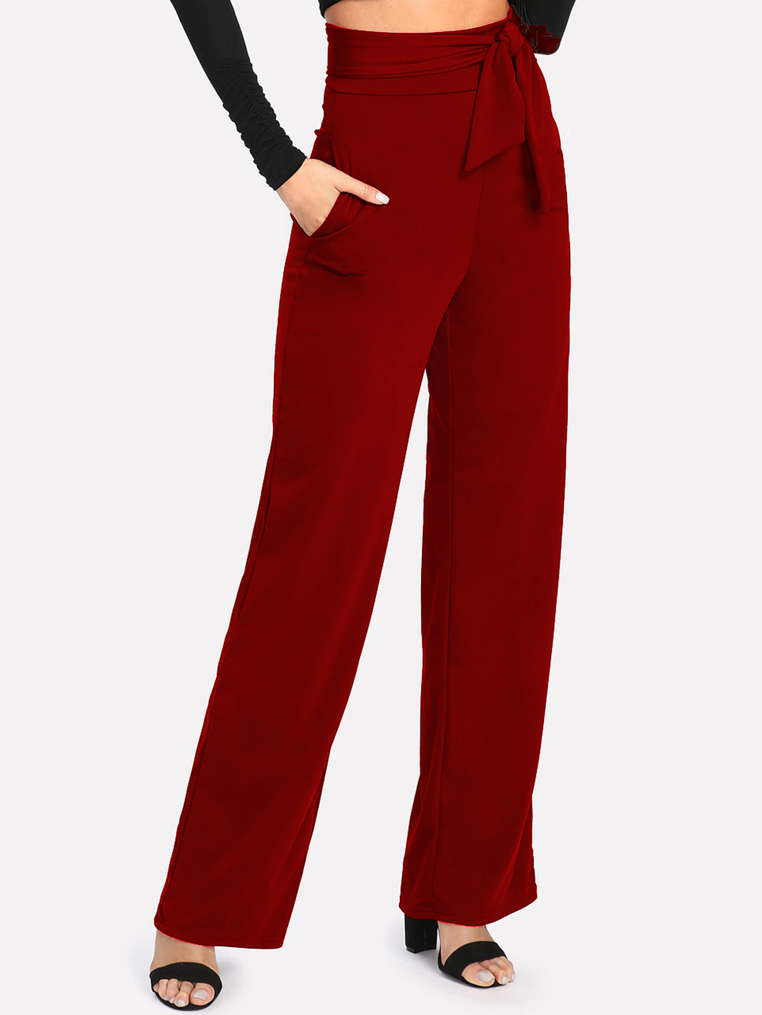 Fifth Avenue Women's NESS Tie Waist Pants - Red