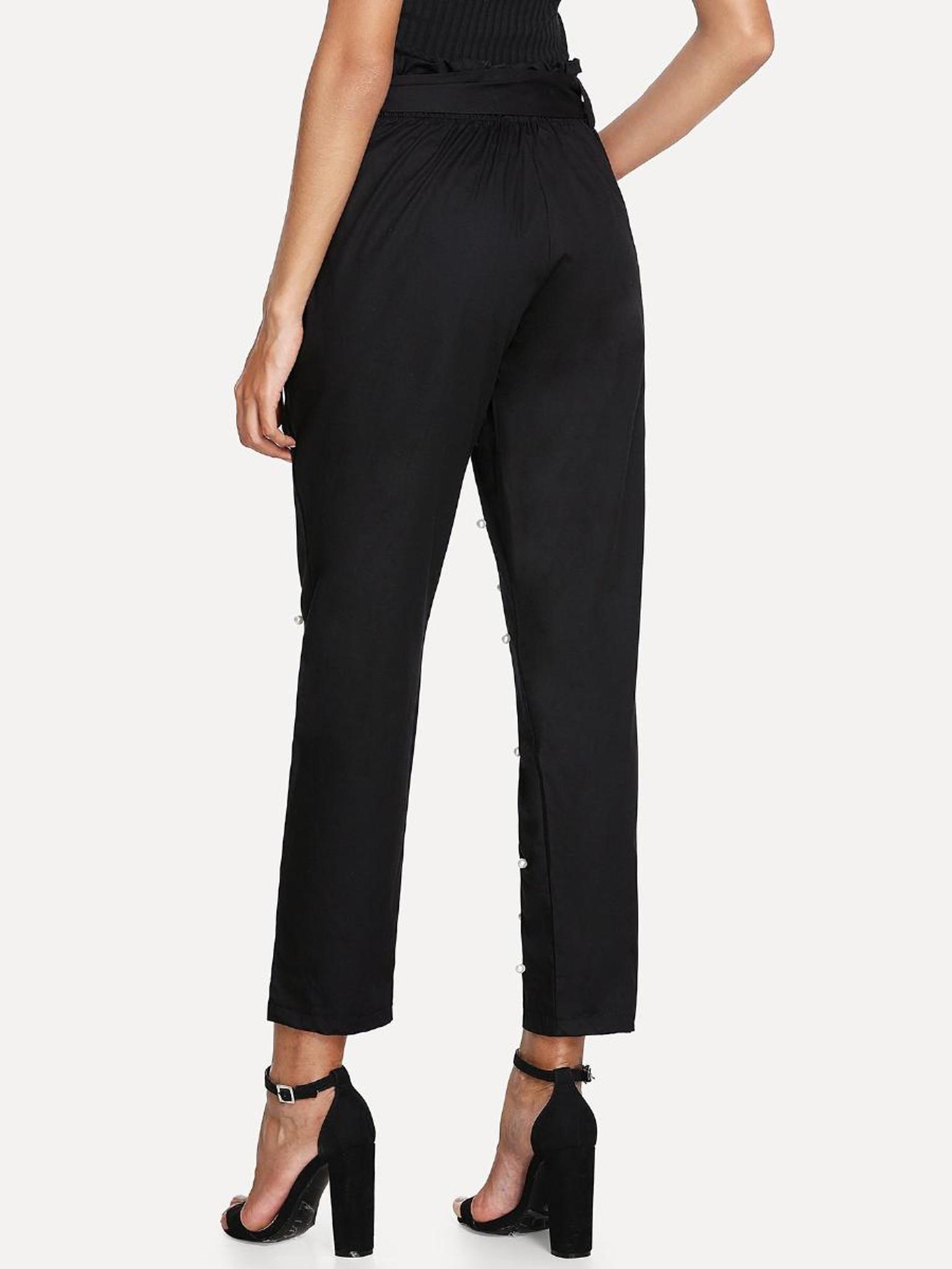 Fifth Avenue Women's GVII  Beaded Self Tie Waist Waist Pants - Black