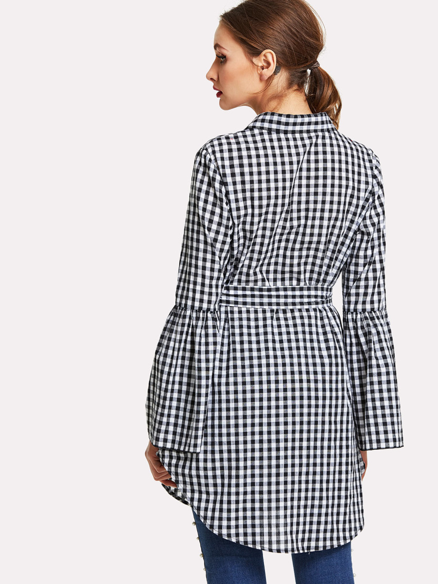 Fifth Avenue Women's Gingham Self Tie Shirt Dress - Black and White