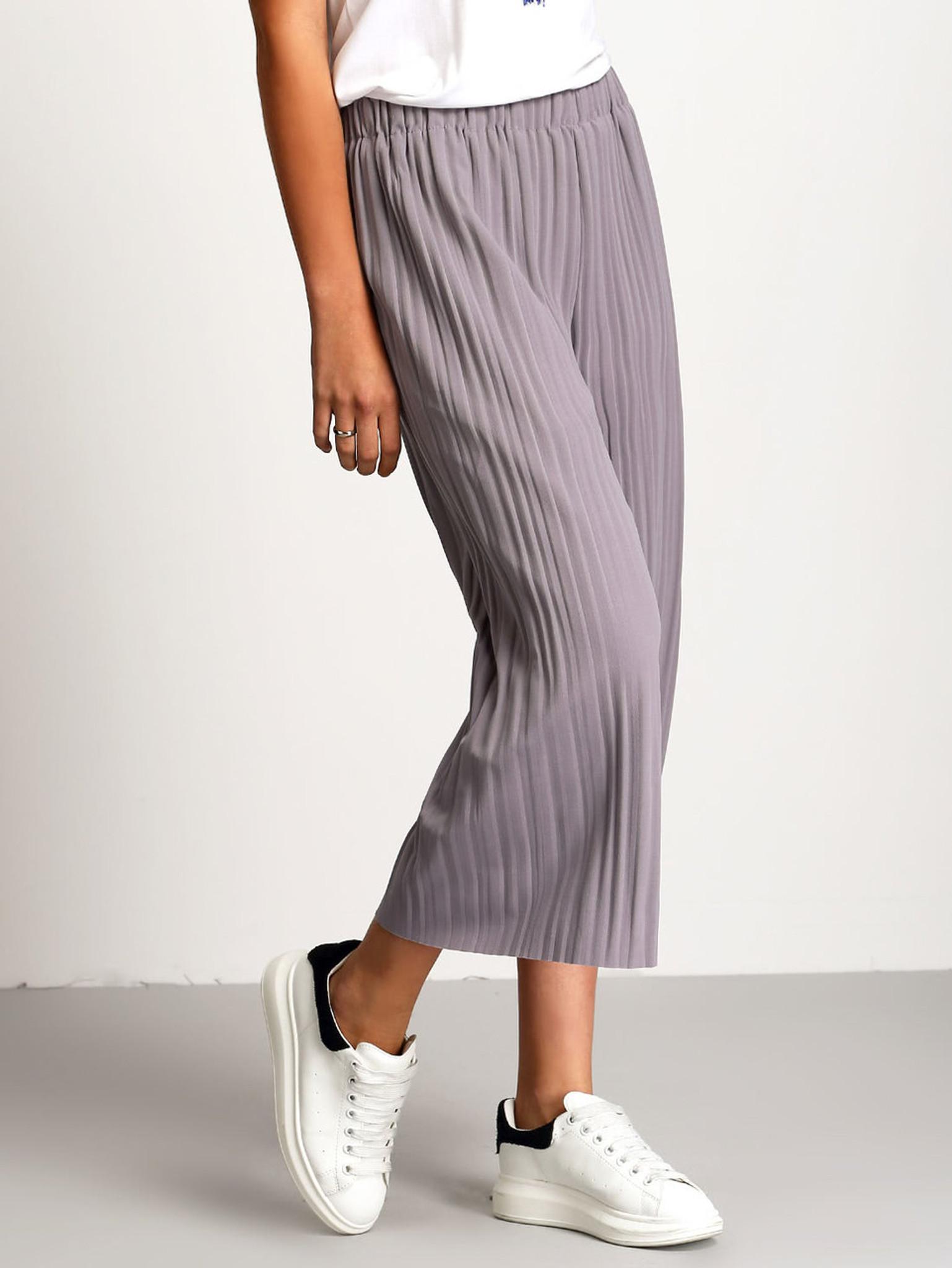 Fifth Avenue Womens Georgette JIMZ Pleated Culotte Pants - Purple