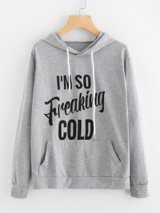 Fifth Avenue I'm So Freaking Cold Print Hoodie - Heather Grey