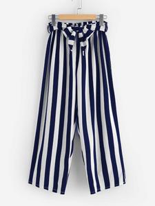 Fifth Avenue Viscose JESSA Stripe Tie-Waist Pants - Navy Blue and White