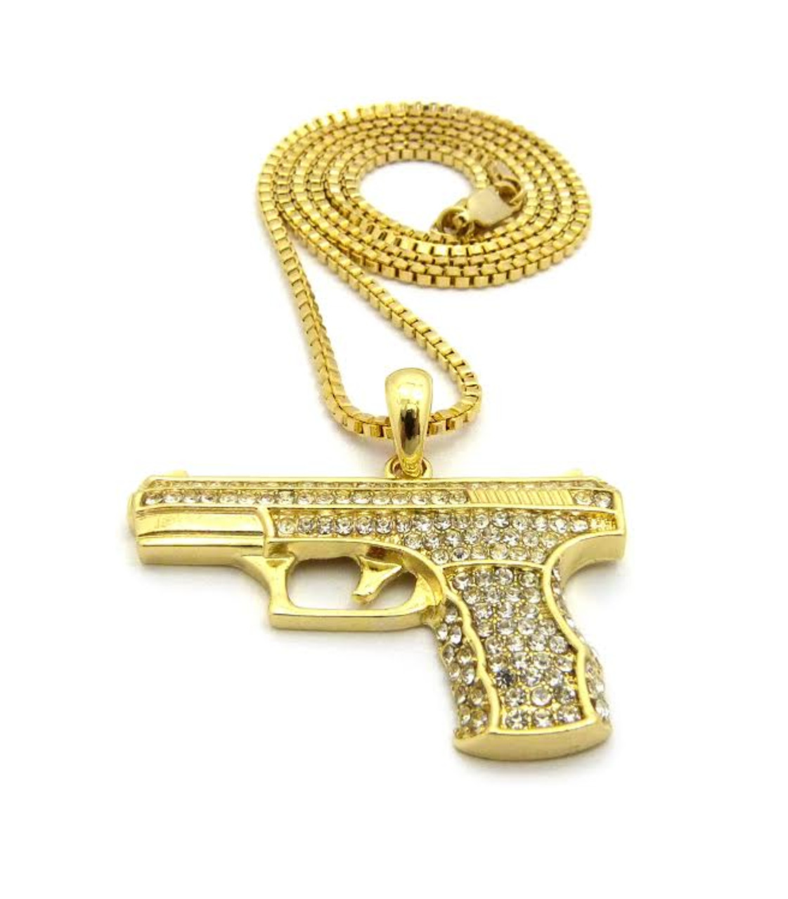9mm gold gun 14k gold 9mm pistol pendant fully iced out wfree 36 chain aloadofball Gallery