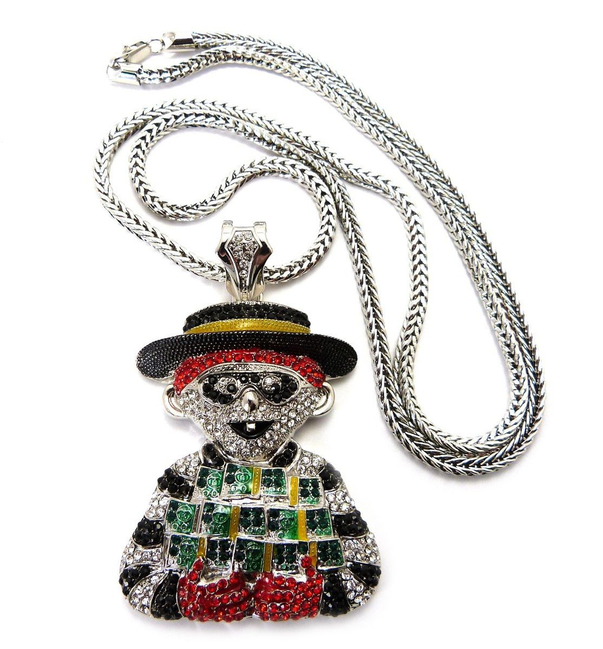 Iced out hamburglar pendant franco chain the black bat iced out hamburglar pendant franco chain aloadofball