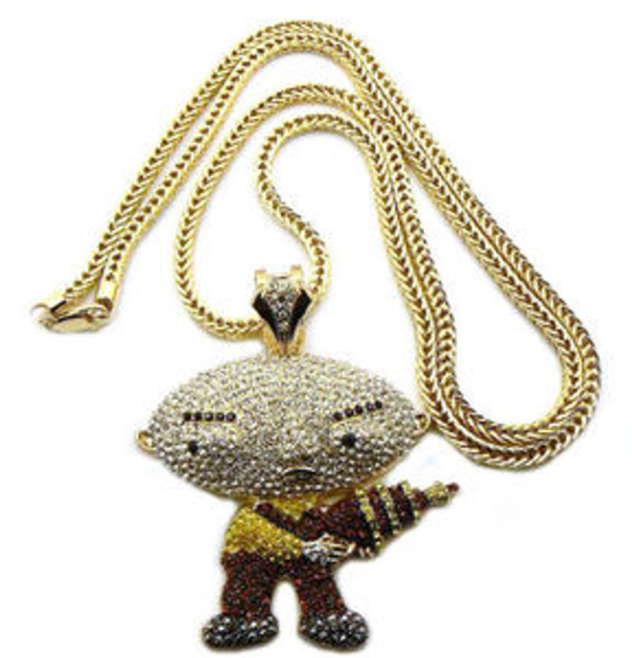 Iced out stewie pendant franco chain wgun 36 chain the iced out stewie pendant franco chain wgun 36 chain aloadofball