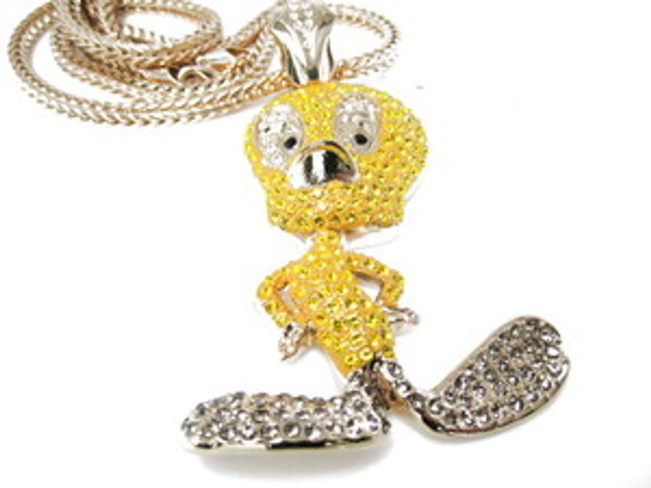 1 yellow tweety custom diamond cz wfree 36 gold franco chain 1 yellow tweety custom diamond cz wfree 36 gold franco chain aloadofball Gallery