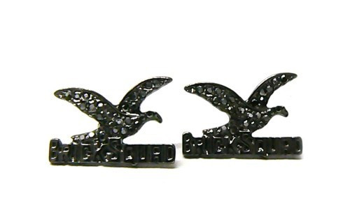 Official Brick Squad Black on Black Iced Out Earrings! BE BOLD Make a Statement!