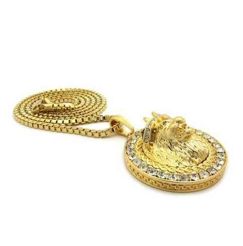 "King Lion Pendant -Gold w/FREE 36 ""Chain"
