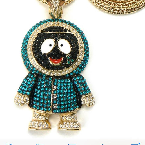 """Kenny-South Park 14K Gold plated Iced Out Pendant w/free 36"""" Chain"""