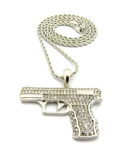 "Large/ Silver Handgun Pendant w/FREE 36""Chain-Limited"