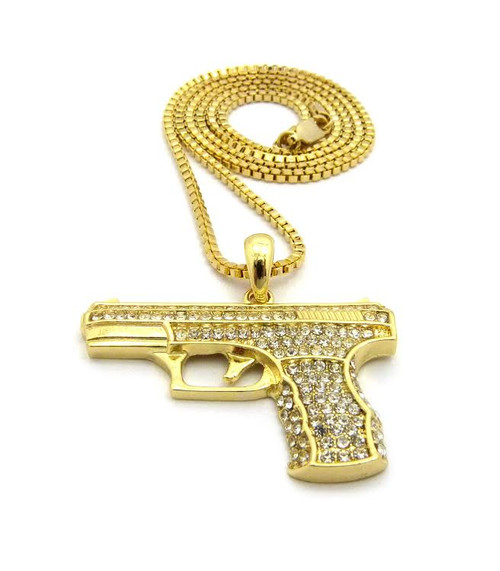 "14K Gold 9mm Pistol Pendant |Fully Iced Out w/Free 36"" Chain"
