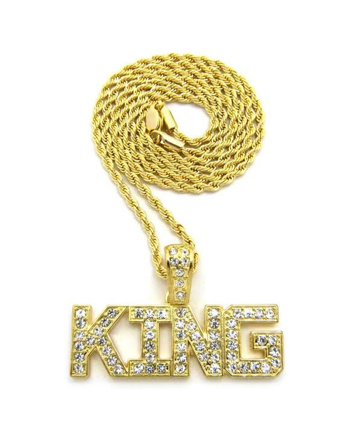 """14K King Ice-Fully Iced Out Pendant w/FREE 36""""Gold Rope Chain"""
