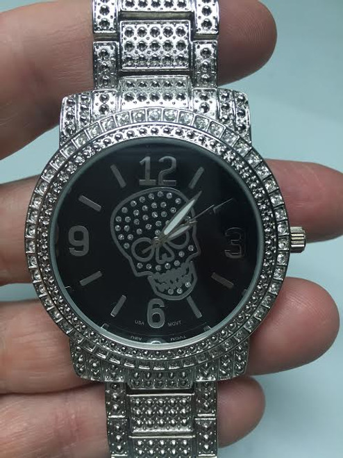 Iced out Skull Black Face Band Mens Watch