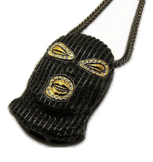 """PLIES - 3"" x 2"" BLACK GOON pendant ICED OUT w/FREE 36"" Chain"