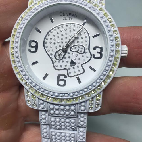 "Iced out Skull ""PURE WHITE"" -WATCH and Band"