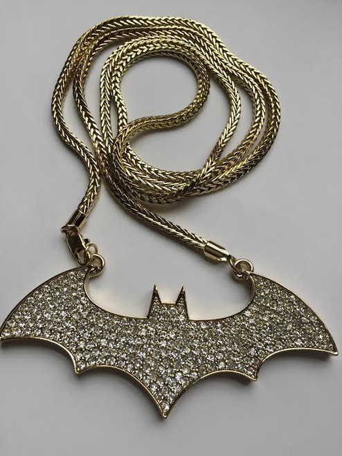Iced out Bat  pendant 14k GOLD plated
