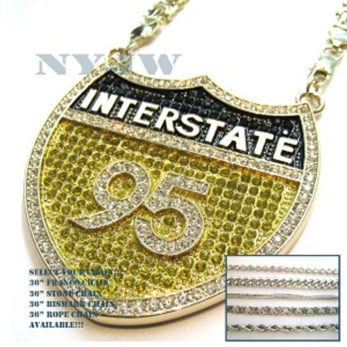 """""""i-95 Hip Hop Iced Out Canary Black and Clear Pendant"""
