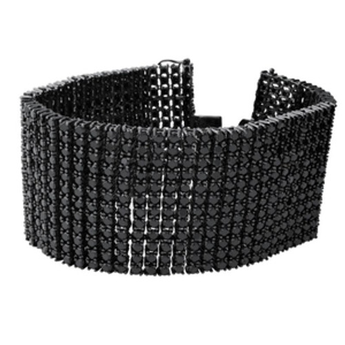 12 Row Black Iced Out Solid Hematite Stone Mens Bracelet