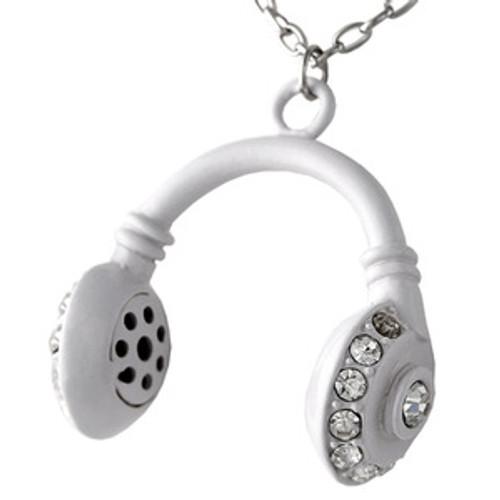 """NEW WHITE ICED  HEADPHONES CHARM NECKLACE PENDANT"