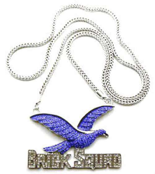 """FULLY ICED OUT BLUE BRICK SQUAD  1017 PENDANT & FRANCO CHAIN"