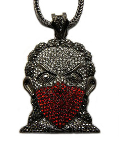 """Plies 3"" x 2"" RED BANDANA MASK Iced Out pendant. w/FREE 36"" chain"