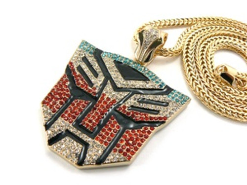 """""""Iced Out Gold Tone Blue and Red Transformers Chain"""