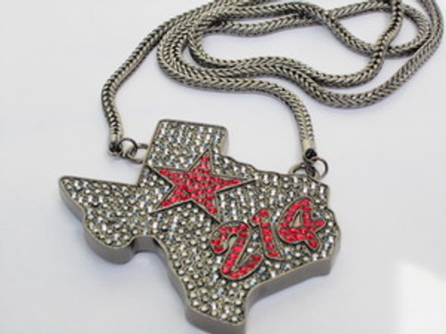 """""""Texas 214 STAR Iced Out State Hip Hop Pendant & Chain"""